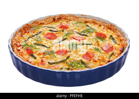 quiche tart with red fish, green bean and Emmental cheese, cream, onion and eggs in baking dish isolated on white background, close-up - Stock Photo