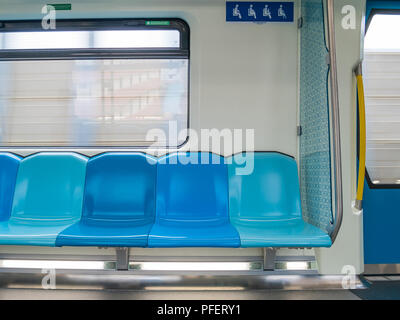 Malaysia's MRT (Mass Rapid Transit) priority seats. - Stock Photo