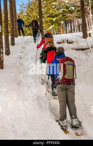Walking with snow shoes up the Jizo Pass along the old Hida Highway above Kiso-Fukishima, Nagano Prefecture, Japan. - Stock Photo