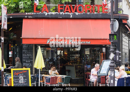 Paris brasserie La Favorite on Rue de Turbigo in the 10th arrondissement. France. - Stock Photo