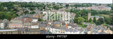 Panoramic view of Richmond in North Yorkshire - Stock Photo