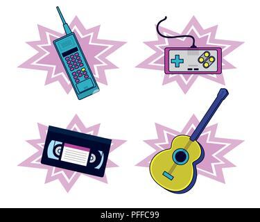 Set of 90s elements and technology - Stock Photo