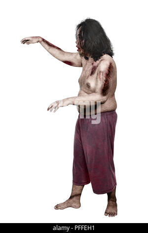 Side view of bloody zombie man with wounds standing isolated over white background - Stock Photo