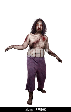 Scary zombie man with wound on his body standing isolated over white background - Stock Photo