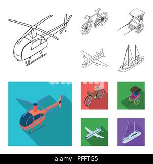 Bicycle, rickshaw, plane, yacht.Transport set collection icons in outline,flat style vector symbol stock illustration . - Stock Photo