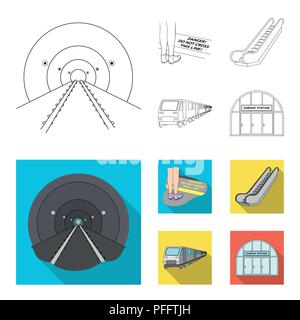 Electric, transport, equipment and other  icon in outline,flat style.Public, transportation,machineryicons in set collection - Stock Photo