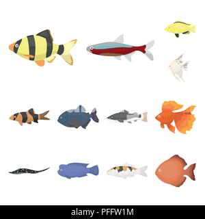 Different types of fish cartoon icons in set collection for design. Marine and aquarium fish vector symbol stock illustration. - Stock Photo