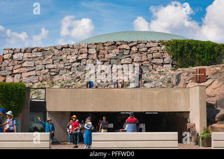 Helsinki architecture Finland, view of the entrance to the Temppeliaukio Kirkko, a church built into solid rock in the centre of Helsinki, Finland. - Stock Photo