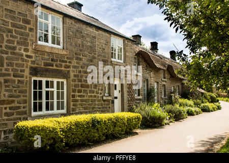 Stone cottages Bakewell, small market town on the River Wye,  Derbyshire Dales in the Peak District, England, UK, famous for the Bakewell pudding - Stock Photo