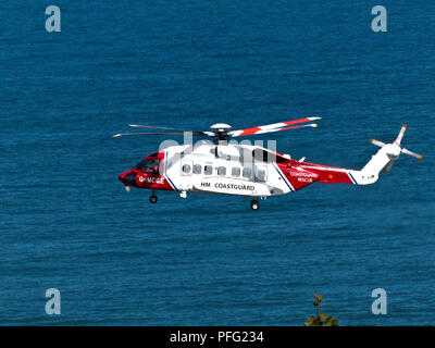 A SeaKing Helicoper is the standard issue for the Air Sea Rescue of the Coast Gaurd operation with helicopters based all around the UK coast and vital - Stock Photo