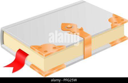 White book with golden corners and safe lock. Vintage design - Stock Photo