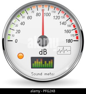 Volume unit meter. Sound audio equipment. Normal level. White glass gauge with chrome frame - Stock Photo
