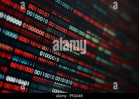 the right data. binary data background. focus on the white complete data amidst corrupted error red and blue binary bits. information codding problem - Stock Photo