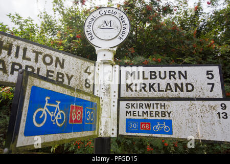 A sign in the rural village of Dufton in the Eden Valley, Cumbria, UK. - Stock Photo