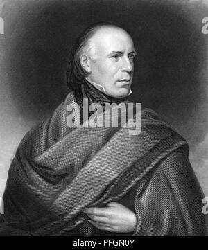 ALLAN CUNNINGHAM (1784-1842) Scottish author and poet in an engraving of about 1840 - Stock Photo
