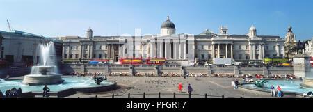 Great Britain, England, London, National Gallery facade, view across Trafalgar Square. - Stock Photo