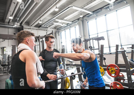 Young friends standing and talking in modern crossfit gym, holding plastic bottles and giving fist bump. - Stock Photo