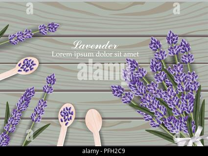 Lavender flowers bouquet on wooden background Vector illustration - Stock Photo