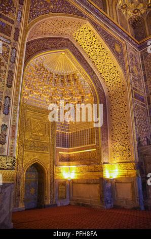 Samarkand, Uzbekistan - April 26, 2015:  Interior of Tilya Kori Mosque and Madrasah located in Registan Square, in Samarkand, Uzbekistan. - Stock Photo