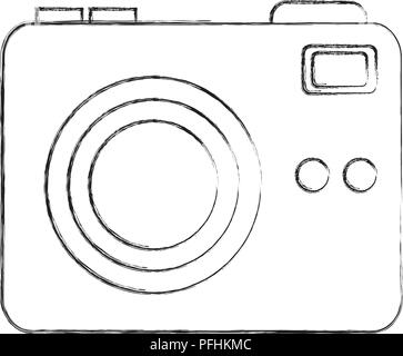 phtographic camera lens flash button vector illustration hand drawing - Stock Photo