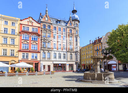 Tenement Houses on Old Market Square in Świdnica, Lower Silesia, Poland - Stock Photo