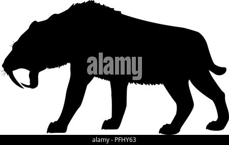 Saber toothed tiger silhouette extinct mammalian animal - Stock Photo