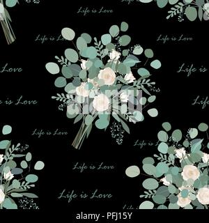 Flower Bouquet seamless pattern. Eucalyptus bunches and Life is Love text on black background. Vector llustration. Design for wallpapers or textile - Stock Photo