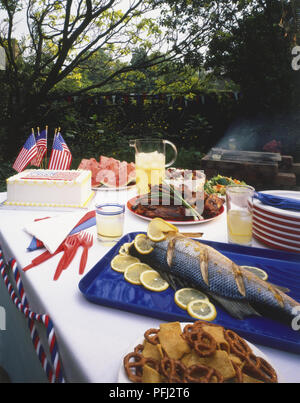 Barbecue buffet laid out on a table in a garden, including fish, pretzels, grilled beef, cake, watermelon, salad, drink, decorated with American flag - Stock Photo