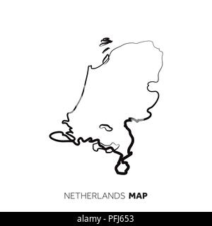 Netherlands vector country map outline. Black line on white background - Stock Photo