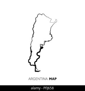 Argentina vector country map outline. Black line on white background - Stock Photo