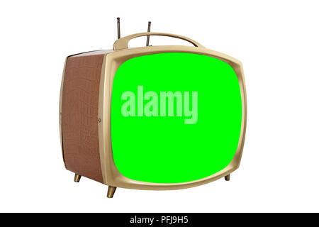 Retro 1950s portable television with chroma key green screen. - Stock Photo