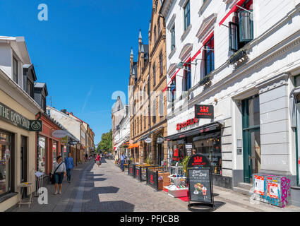 Shops in the old town centre, Lund, Scania, Sweden - Stock Photo