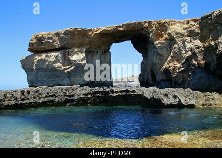 Blue window in Malta, sea view - Stock Photo