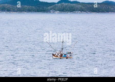Fishing boat 'Pacific Shadow' off the coast of Price Island, British Columbia, Canada - Stock Photo