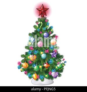 Christmas tree with colorful balls, star, toys and baubles isolated on white background. Sketch for greeting card, festive poster or party invitations.The attributes of Christmas and New year. Vector. - Stock Photo