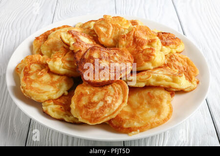 Apple Greek Yogurt Pancakes - thick, fluffy and loaded with juicy pieces of fruits, close-up - Stock Photo
