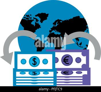 planet with dollars and euro economy - Stock Photo