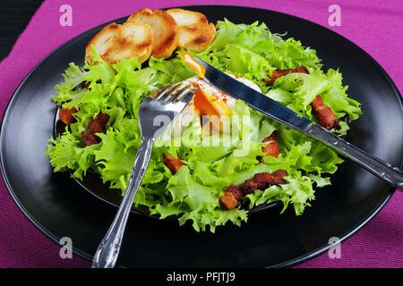 frisee lettuce, crispy bacon and a poached egg salad  -  fresh delicious Lyonnaise Salad, served on black plate with toasted baguette, authentic recip - Stock Photo