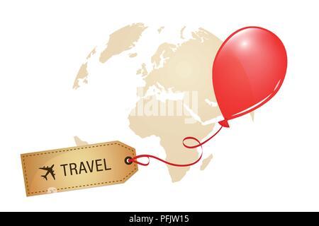 travel around the world label red balloon vector illustration EPS10 - Stock Photo