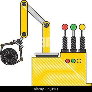 robot arm for automotive engineering with car wheel drawing color - Stock Photo