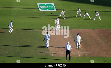 England's Stuart Broad is caught out by India's KL Rahul from the bowling of India's Jasprit Bumrah during day four of the Specsavers Third Test match at Trent Bridge, Nottingham. - Stock Photo