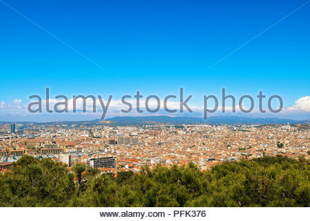Town Marseille France aerial view, travel destination south France travel image - Stock Photo