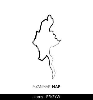 Myanmar vector country map outline. Black line on white background - Stock Photo