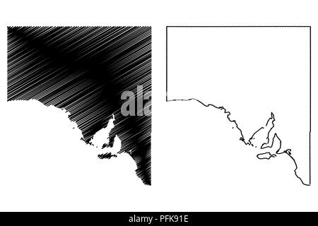 South Australia (Australian states and territories, SA) map vector illustration, scribble sketch South Australia map - Stock Photo