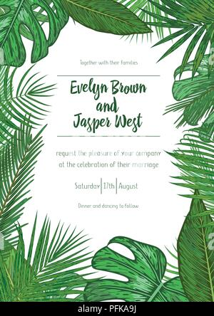 Wedding event invitation card template. Exotic tropical jungle rainforest bright green palm tree and monstera leaves border frame on white background. - Stock Photo