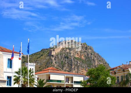 Filelinon Square with the Monument for the Morea Expedition and Palamidi Fortress, Old Town of Nafplio, Argolis, The Peloponnese, Greece, Southern Eur - Stock Photo
