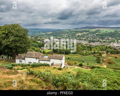 View over Ilkley and Wharfedale from White Wells Spa Cottage on Ilkley Moor West Yorkshire England - Stock Photo