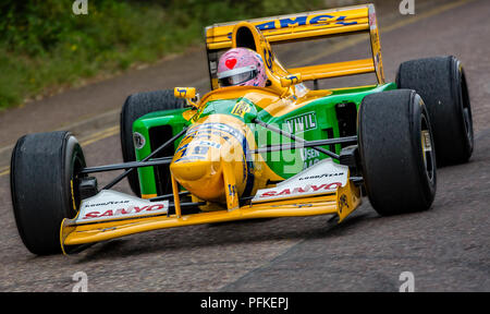 Close up of speeding Formula One racing car at the Bournemouth Wheels Festival in Bournemouth, Dorset, UK taken on 31 May 2015 - Stock Photo