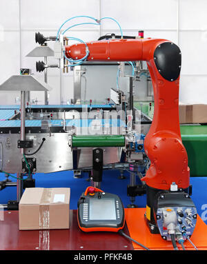 Articulated robot at packaging line in factory - Stock Photo
