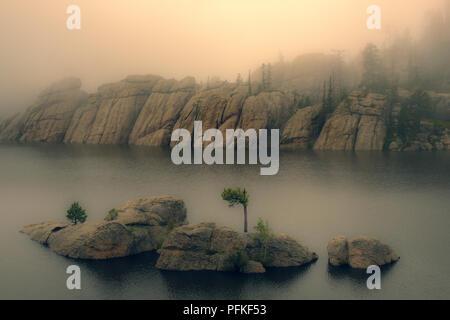 Mist on Sylvan Lake, South Dakota - Stock Photo